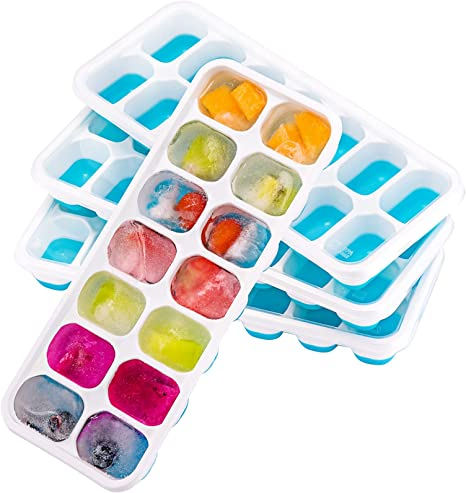 Ice Cube Trays with Lids Flexible 2-Pack Silicone Ice Cube Tray Easy-Release BPA Free and Stackable Ice Molds for Chilled Drinks,Whiskey /& Cocktail