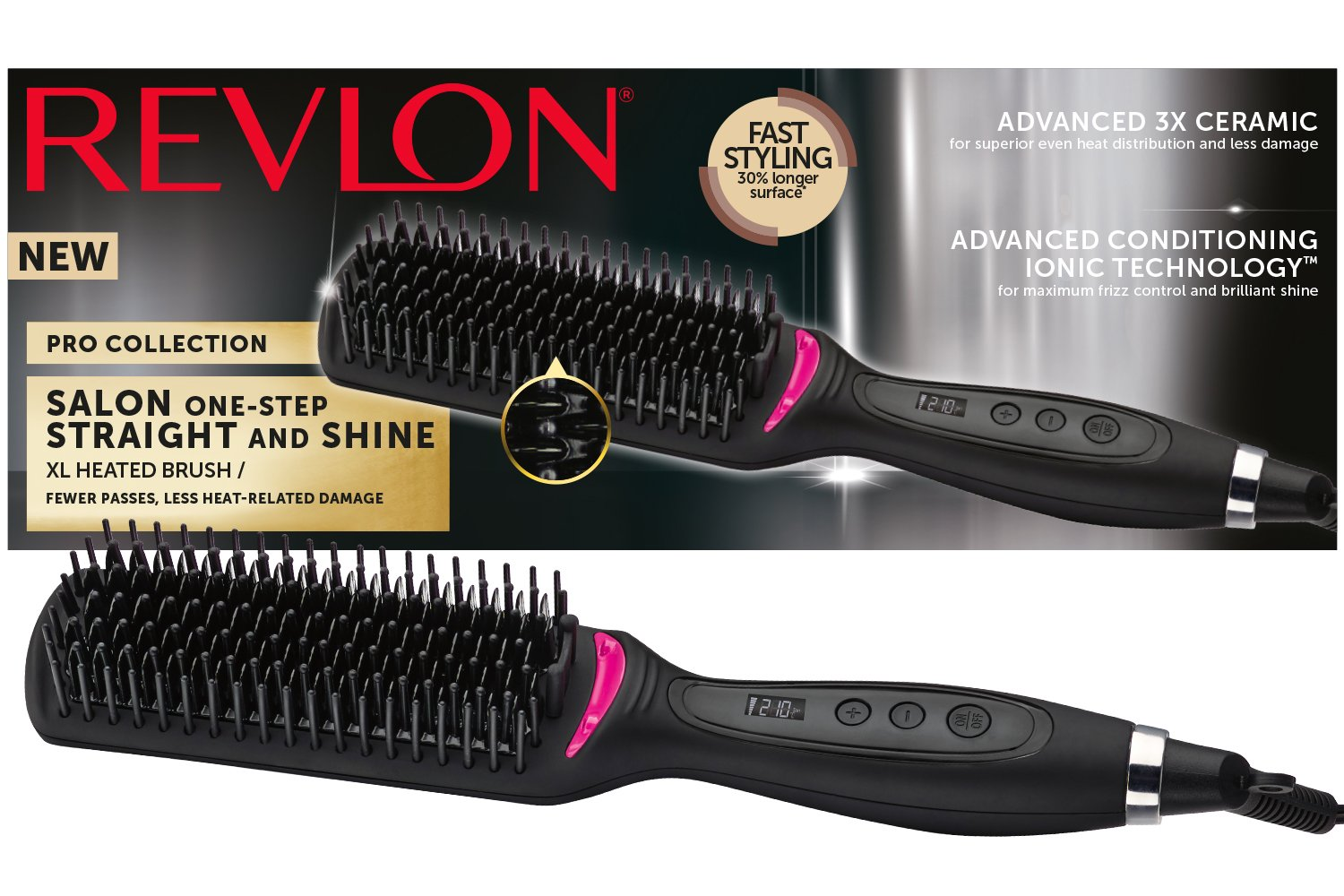Revlon Pro Collection Salon One Step Straight and Shine Hair Straightening Brush, X-Large