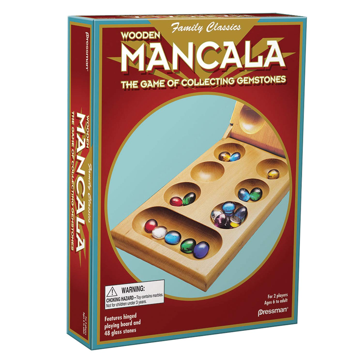 Pressman Mancala - Real Wood Folding Set, with Multicolor Stones by Pressman
