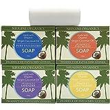 Niugini Organics Virgin Coconut Oil Soap - 4 Pack Mixed Soap Bars. Multi Award Winner.