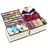 Ticent Bra Underwear Drawer Organiser, Collapsible Closet Dividers and Foldable Storage Box for Socks, Neck Ties, Scarves, and Handkerchiefs, Set of 4