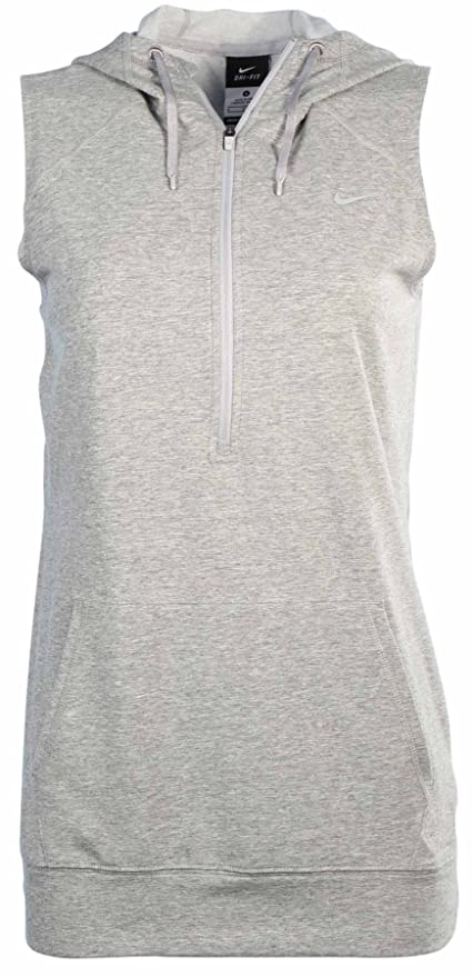 43b3ce5f5a1dd Image Unavailable. Image not available for. Color  Nike Women s Dri-Fit  Obsessed Sleeveless Half Zip Hoodie-Heather Grey-Medium