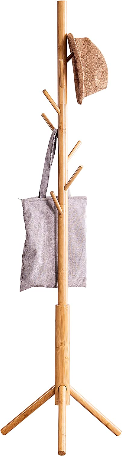 Bamboo Free Standing Coat Rack Stand, Adjustable Coat Tree with 3 Sections & 8 Hooks, Easy to Assemble Coat Hanger Stand for Bedroom, Office, Hallway, Entryway, Bedroom, Natural