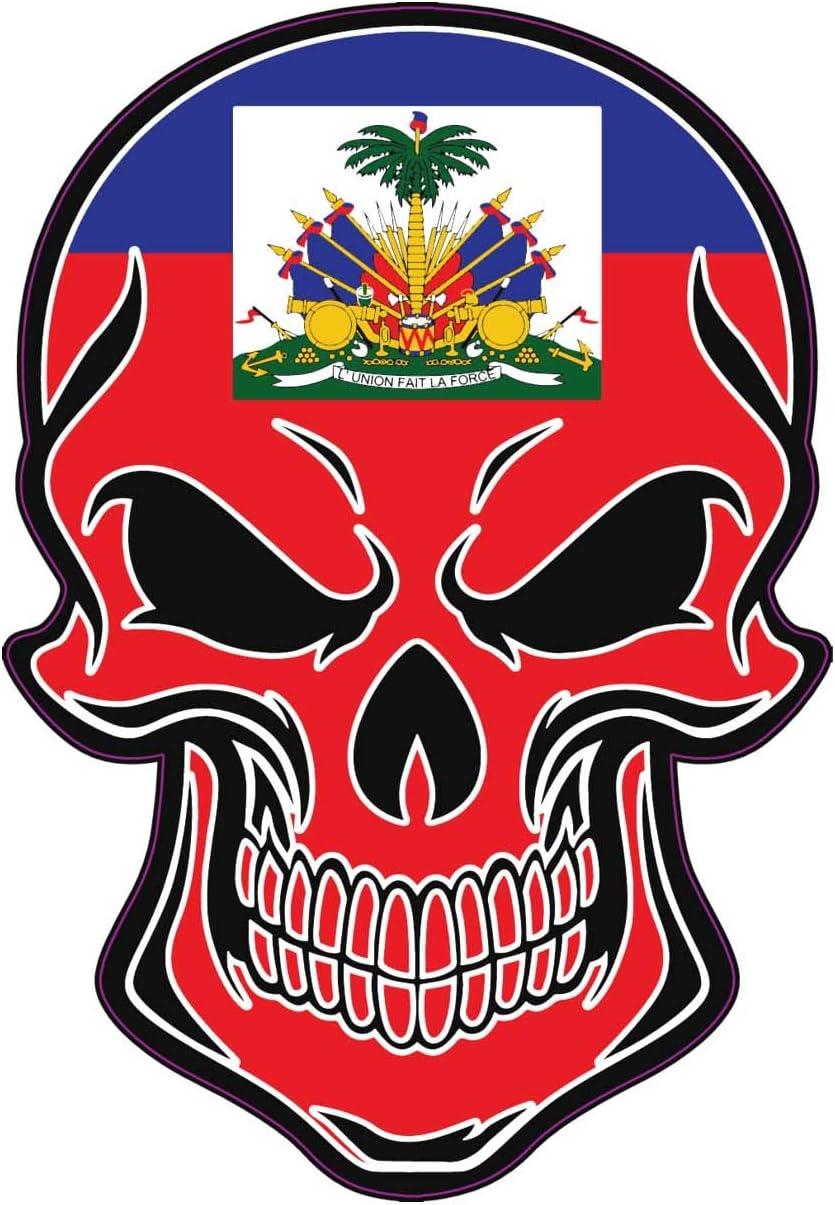 Haiti Bumper Sticker WickedGoodz Haitian Flag Skull Vinyl Decal Proud Haitian Gift