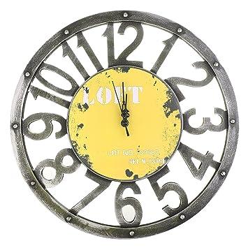 Amazon.com: Jili Online Vintage Round Wall Clock Antique Wooden 3D ...