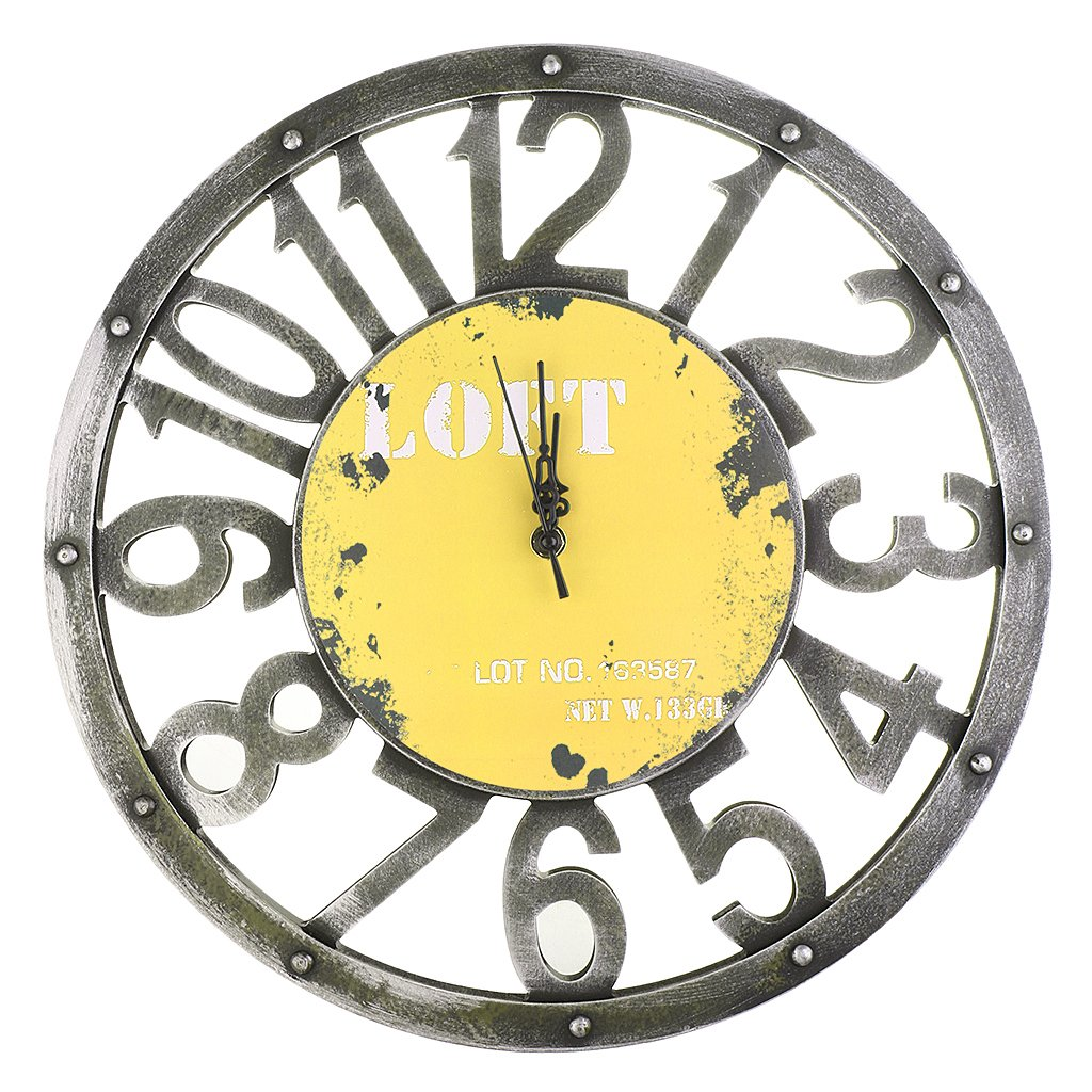 Jili Online Vintage Round Wall Clock Antique Wooden 3D Design Living Room Home Decor 16'' Yellow Gray