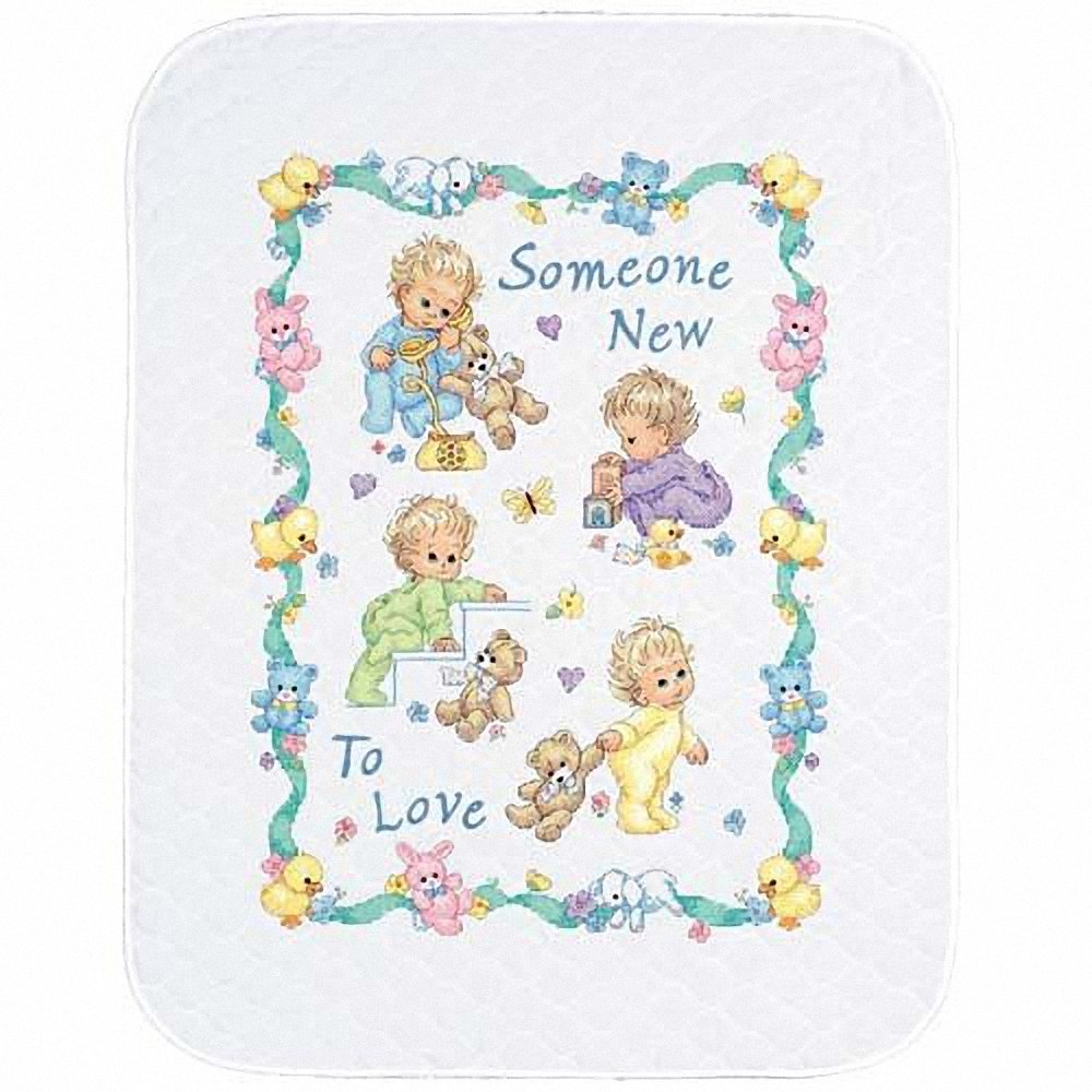 Dimensions Stamped Cross Stitch 'Someone New to Love' DIY Baby Quilt, 34'' x 43'' by Dimensions