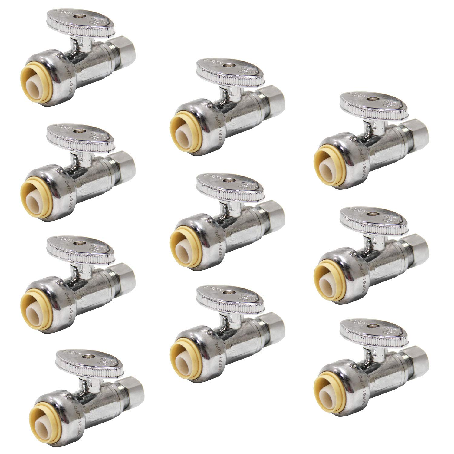 (Pack of 10) EFIELD Push Fit 1/4 Turn Straight Stop Valve Water Shut Off 1/2 Push x 3/8 Inch Compression Chrome by EFIELD