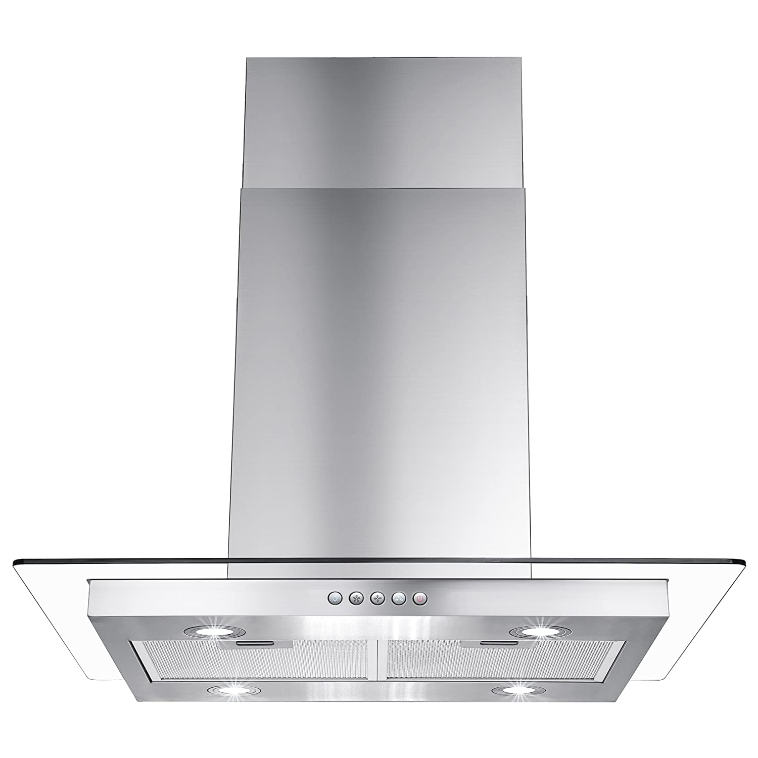"AKDY 30"" Island Mount Stainless Steel & Tempered Glass Push Button Control Kitchen Range Hood"