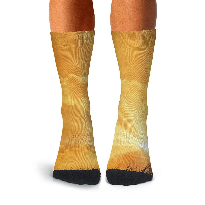 KCOSSH Crucifix In Sunset Crazy Calf Socks Pattern Crew Sock For Mens Knee High Long Stockings