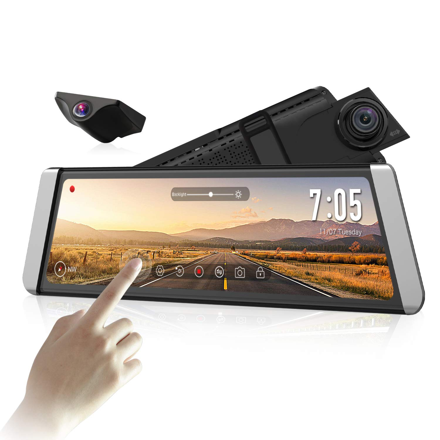 AUTO-VOX Upgrade Mirror Dash Cam Backup Camera Kit Dual Lens 9.88'' Full Touch Screen Stream Media AHD Reverse Camera,1296P FHD Front Camera and 720P Rear View Recorder Dash Camera with LDWS,GPS