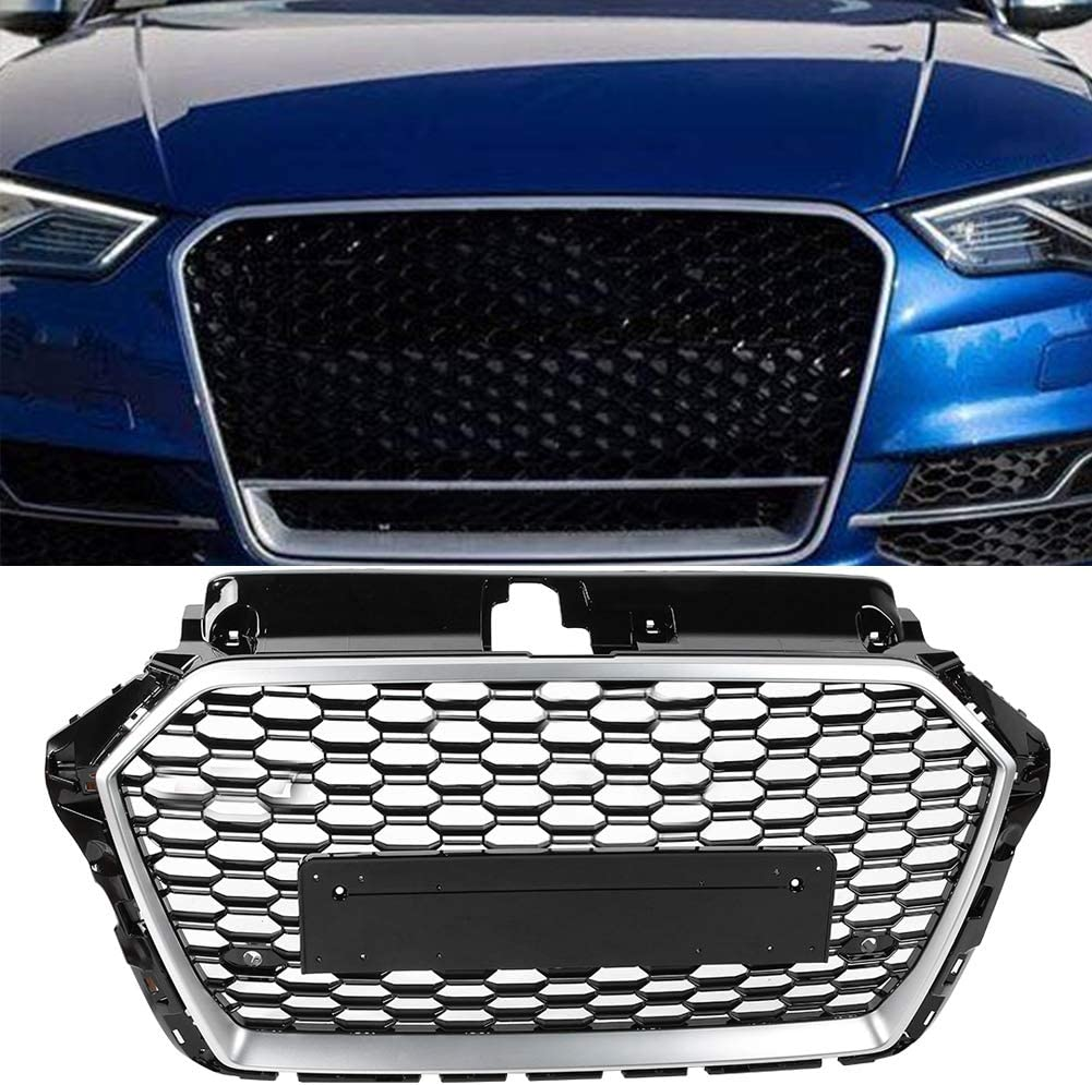 KIMISS ABS Plastic Car Front Bumper//Hood Grille//Center Grill for A3//S3 8V 2017 2018 2019