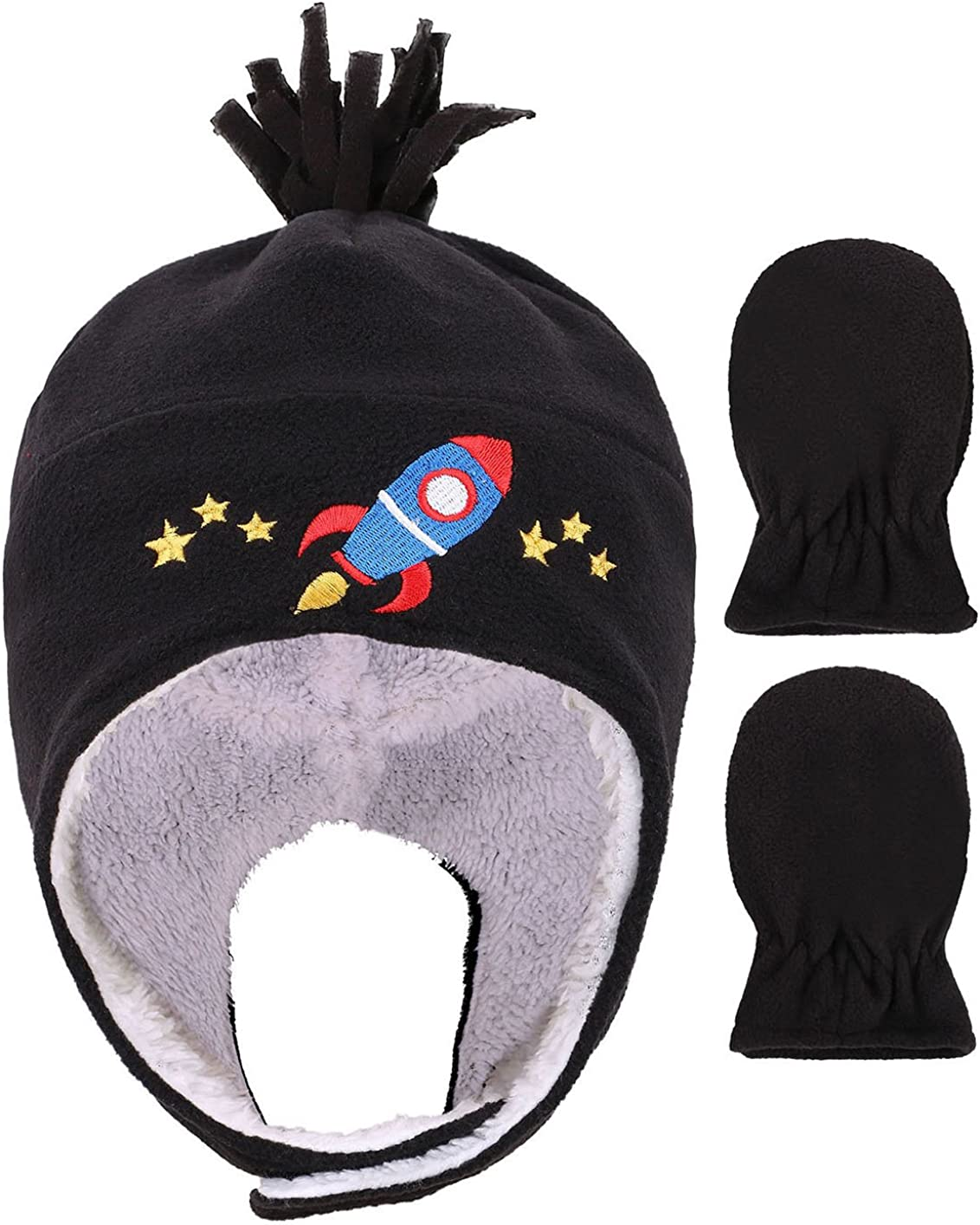 Kids Baby Toddlers Sherpa Lined Cartoon Embroidered Patterned Hat Mitten Set