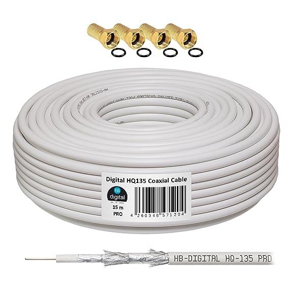 130dB 15m Koaxial SAT cable HQ-135 PRO 4-comercio blindado para DVB-S / S2 DVB-C y DVB-T BK: Amazon.es: Electrónica