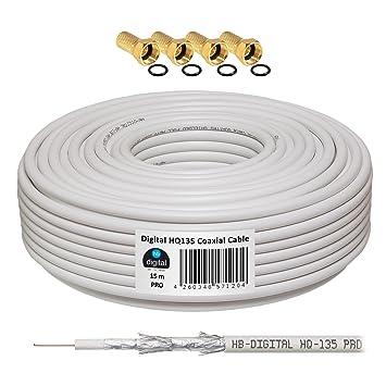 130dB 15m Koaxial SAT cable HQ-135 PRO 4-comercio blindado para DVB-