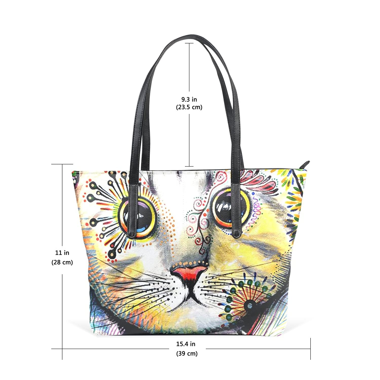 WOOR Cat Women's Soft Leather Zipper Closure Large Handbags Tote Shoulder Bags