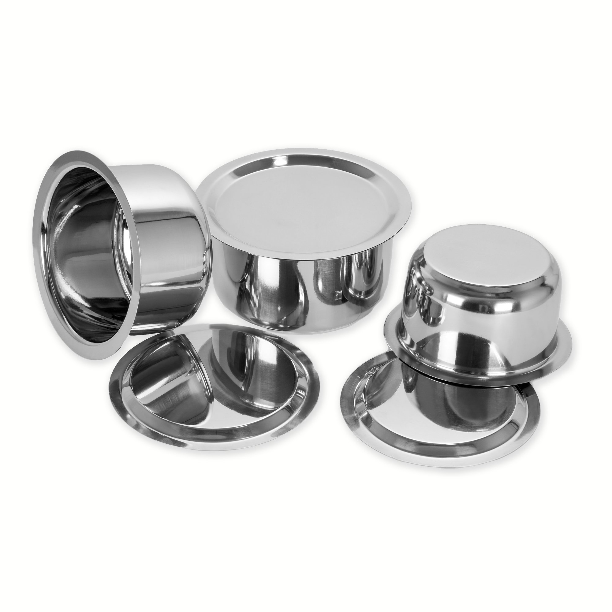Sumeet 3 Pcs Stainless Steel Induction & Gas Stove Friendly Container Set/Tope / Cookware Set With Lids Size No.10 To No.12