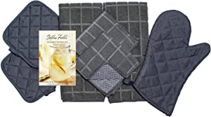 Home Collection 8 Piece Kitchen Towel Set with Dish Cloths, Pot Holders, and Oven Mitt Bundle (Gray)