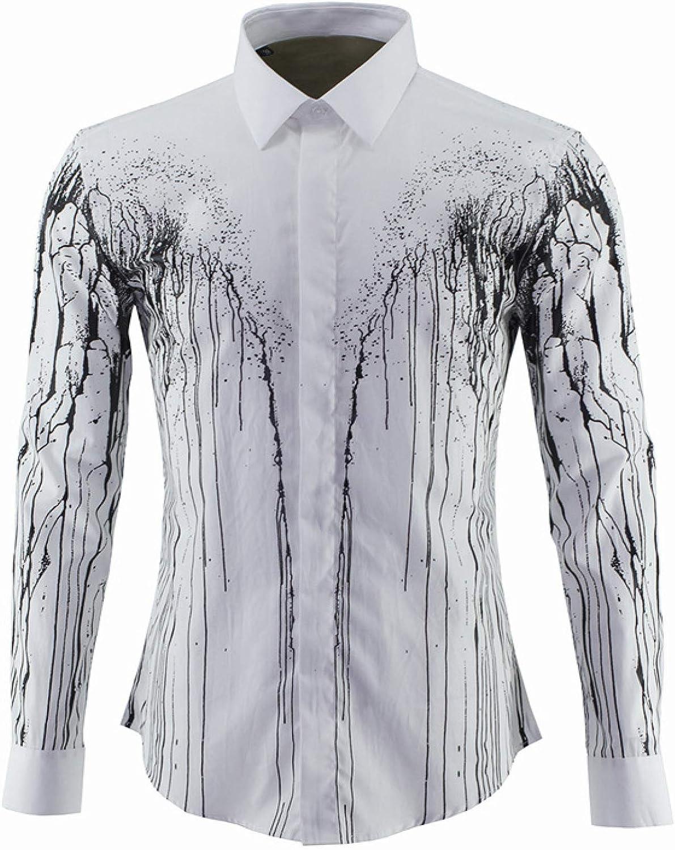 Camisa de Hombre de Manga Larga de algodón con Estampado de ...
