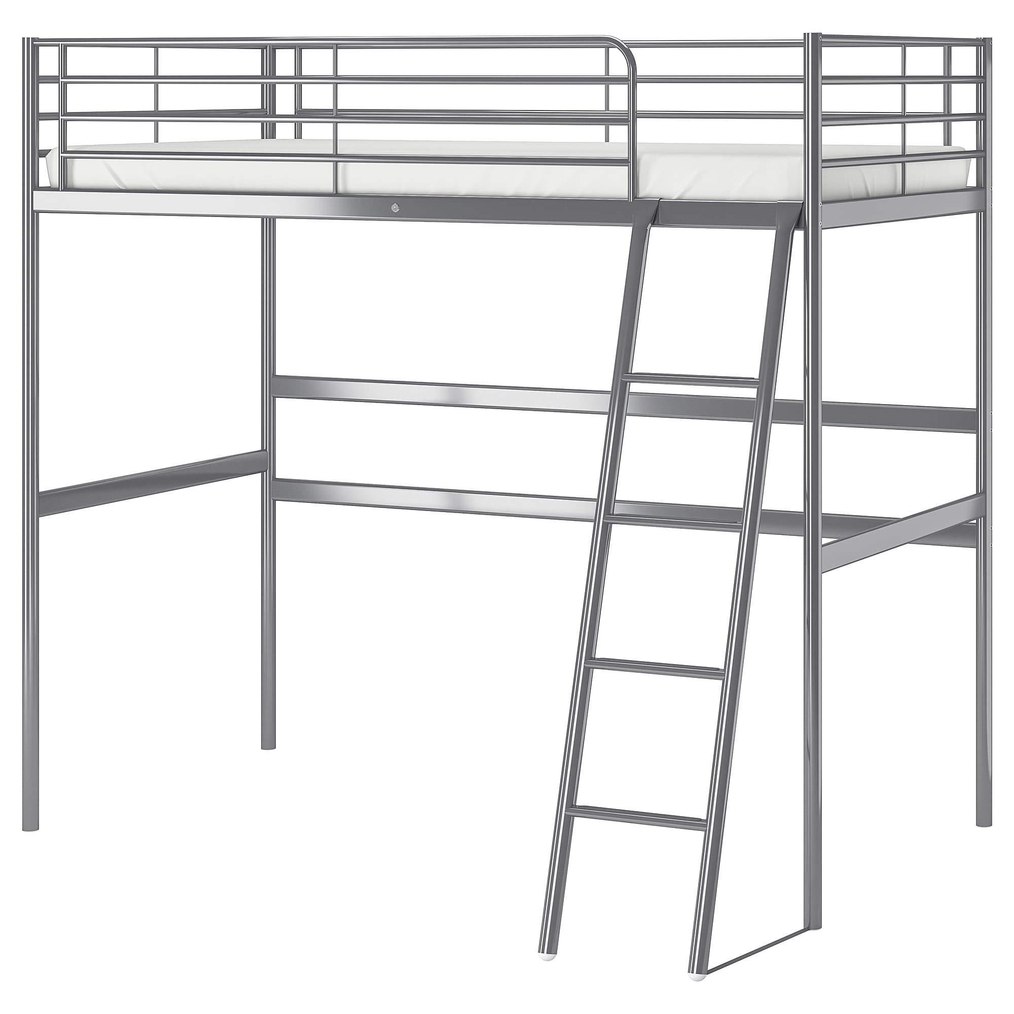 IKEA.. 102.479.87 Svärta Loft Bed Frame, Silver Color