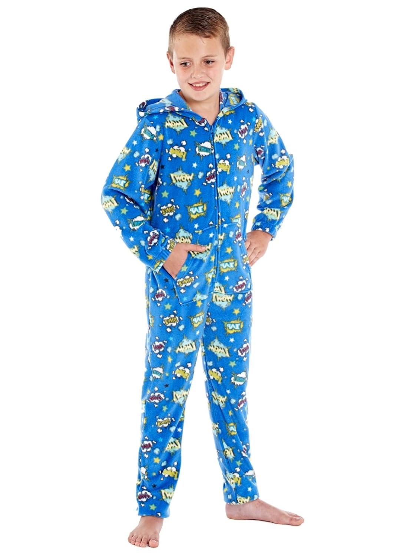 Pijama de una pieza, unisex con capucha, estampado de cómics, con forro polar: Amazon.es: Ropa y accesorios