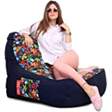 Style Homez Urban Design Denim Canvas Floral Printed Chair Bean Bag XXL Size with Fillers