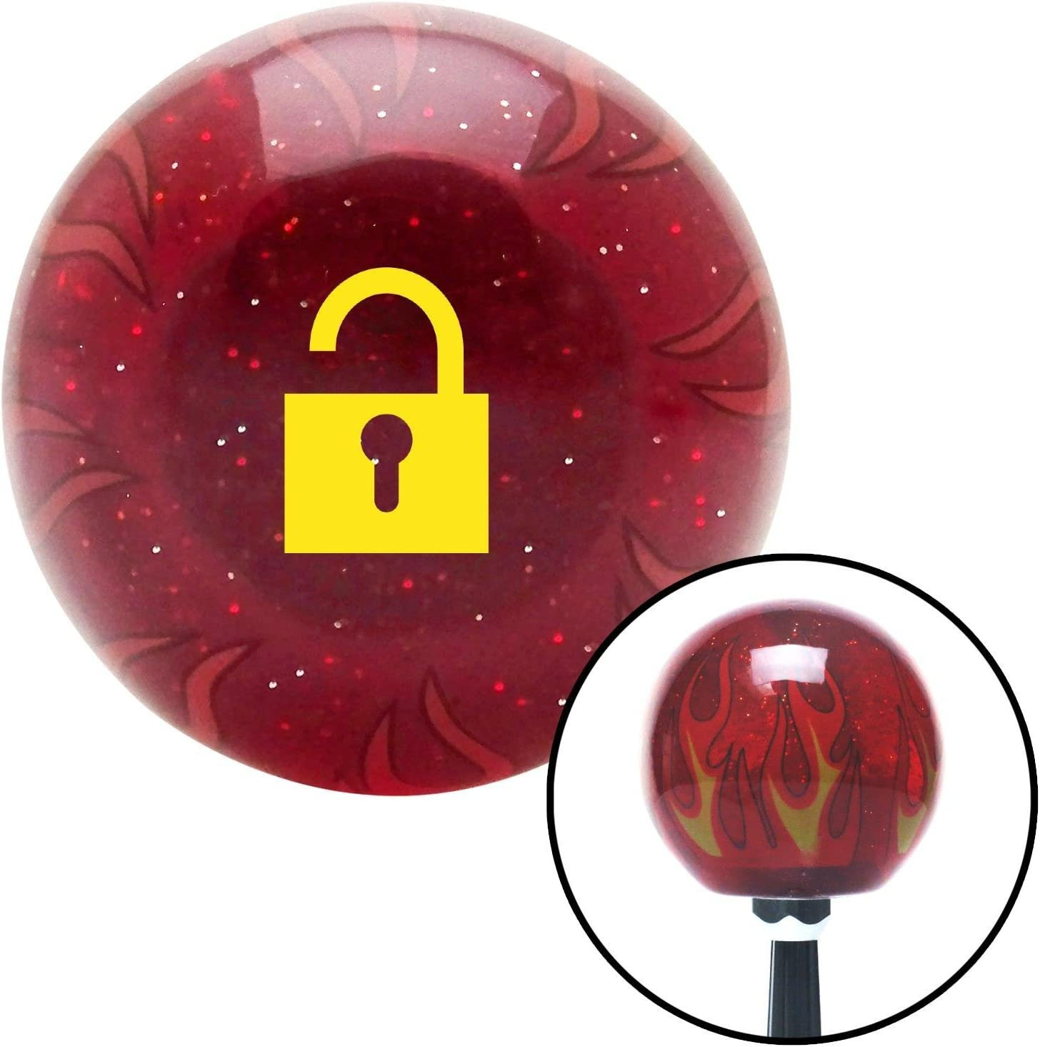 Yellow Unlocked Lock American Shifter 239764 Red Flame Metal Flake Shift Knob with M16 x 1.5 Insert
