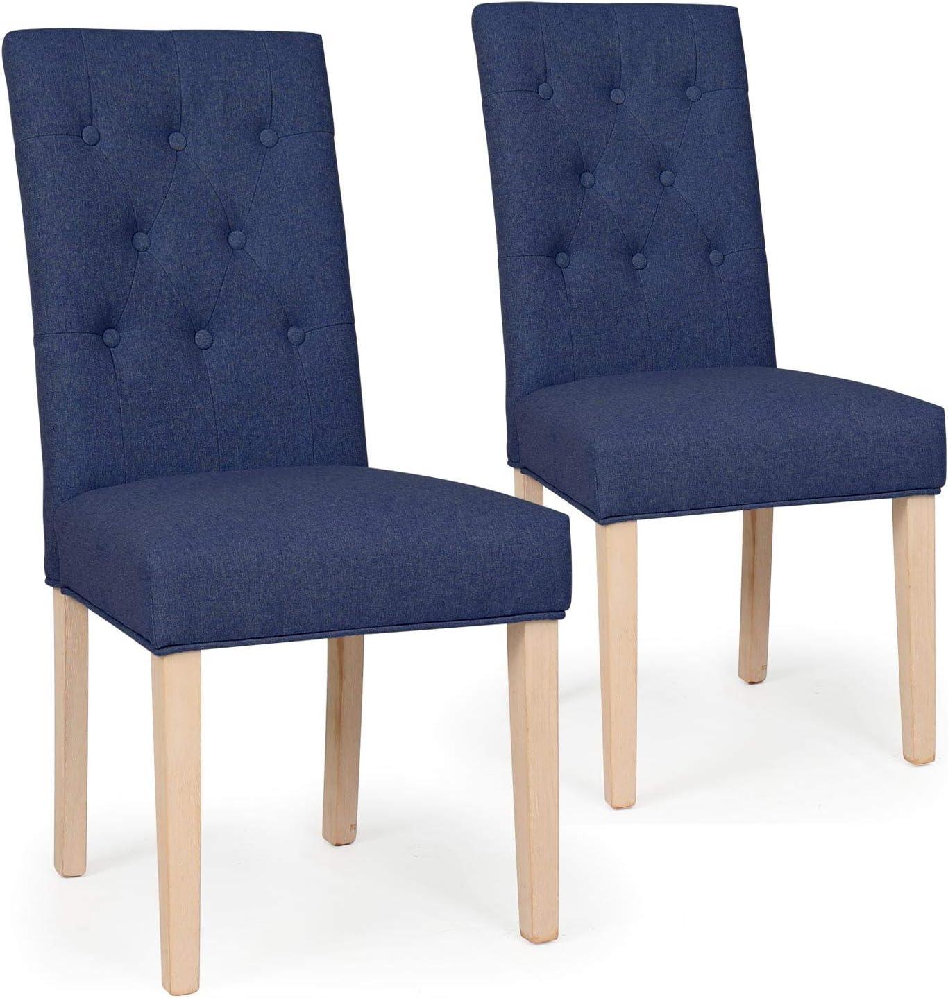 Menzzo – Juego de 2 sillas capitonnées Gaya Tejido Azul Turquesa: Amazon.es: Hogar