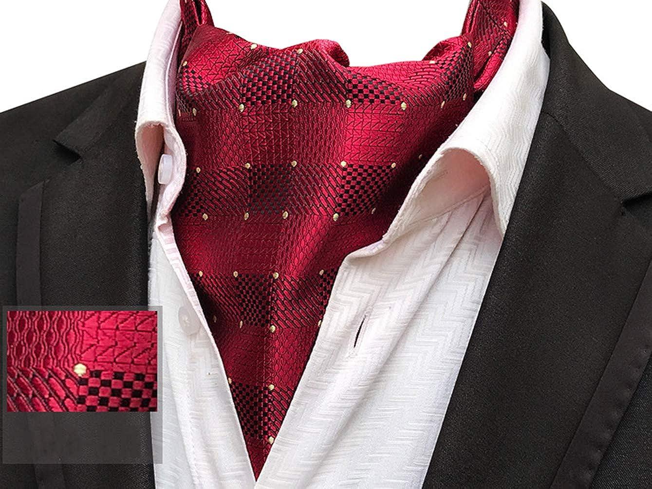 Mens 4 Pcs Wedding Floral Cravat Ascot Scarf Tie Neckties Pocket Square Set of 4 1475TBJ