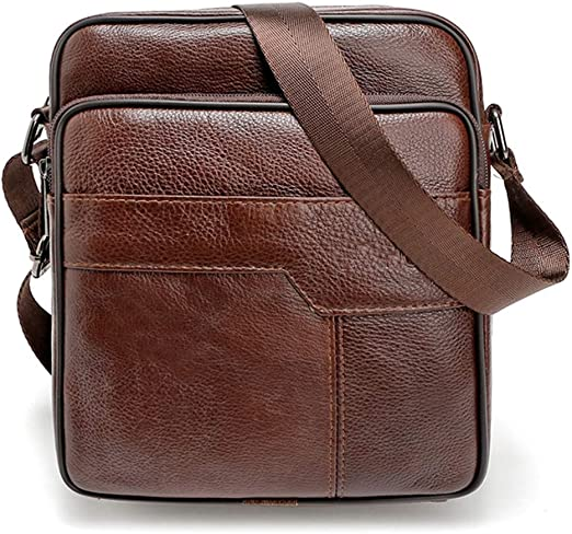 New Men/'s Vintage Genuine Real Leather Shoulder Bag Purse Wallet Size S Brown