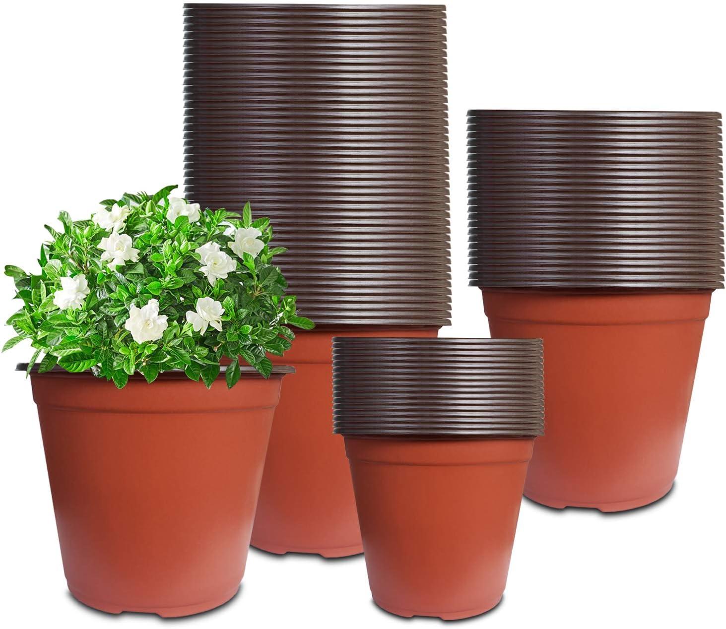 80 Pcs 6 Inch Plastic Seedlings Plants Nursery Pots, Seed Starting Planter Nursery Pots Suitable for Indoor, Outdoor, Garden,Yard and Park