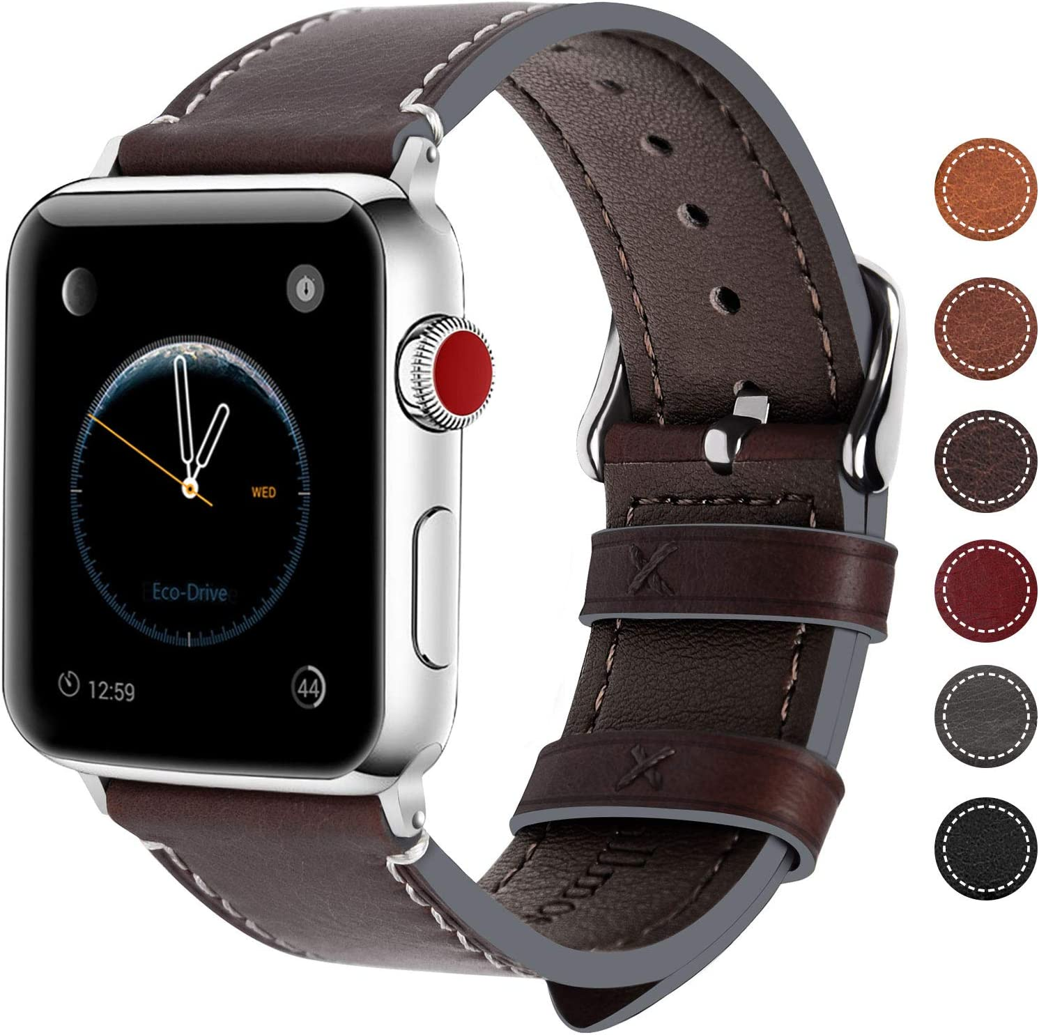 Fullmosa Compatible Apple Watch Band 44mm 42mm 40mm 38mm Genuine Leather iWatch Bands, 42mm 44mm Coffee + Smoky Grey Buckle