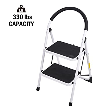 Folding Step Ladder 2 Step Stool Heavy Duty Wide