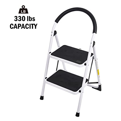 Outstanding Lucky Tree Folding Step Ladder 2 Step Anti Slip Step Stool For Kitchen Heavy Duty Household Stepladders With Handgrip And Wide Pedal 330Lbs Pabps2019 Chair Design Images Pabps2019Com