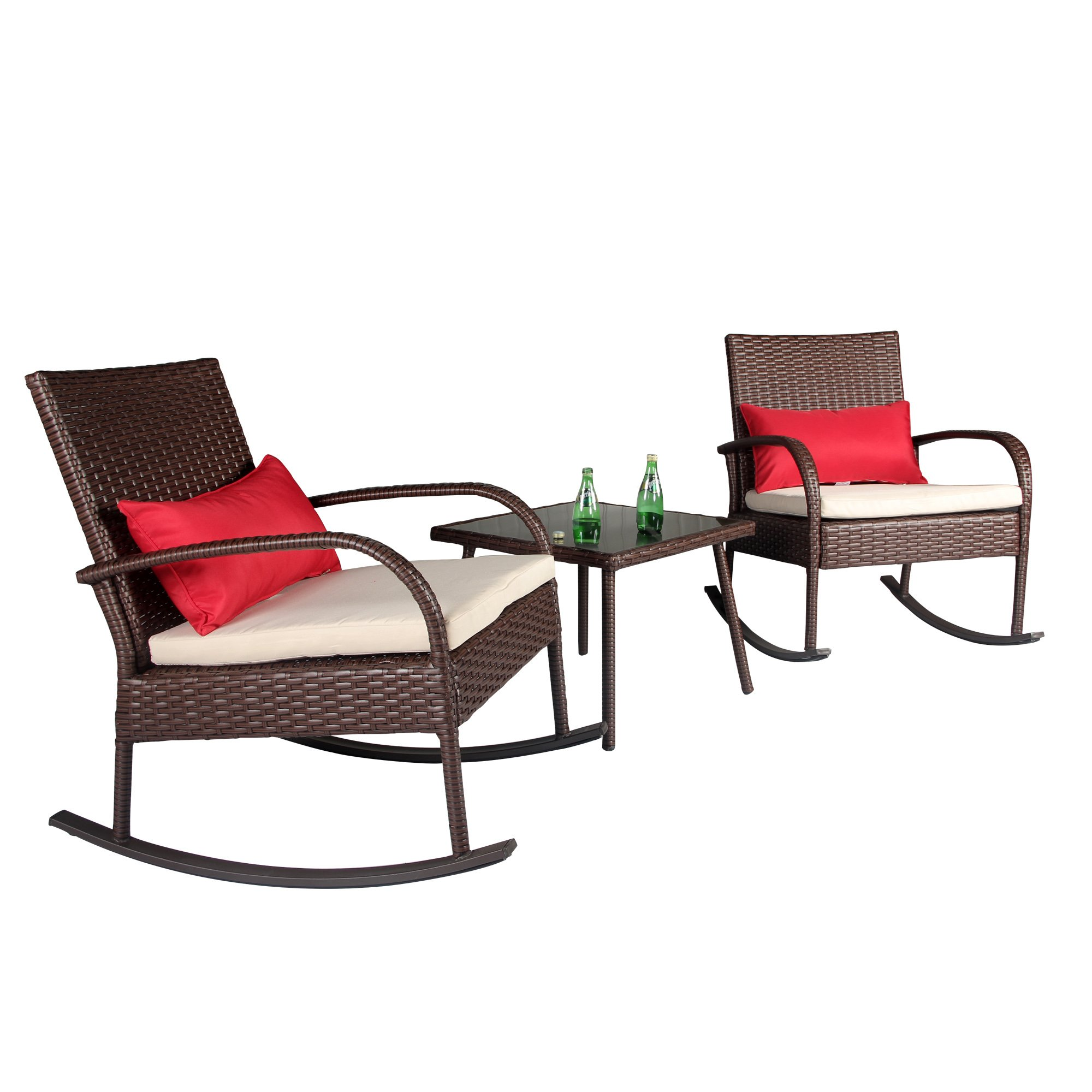 Cloud Mountain Outdoor 3 Piece Rocking Chair Set Wicker Rattan Bistro Set Wicker Furniture - Two Chairs with Glass Coffee Table, Creamy White Cushion with Cocoa Brown Rattan