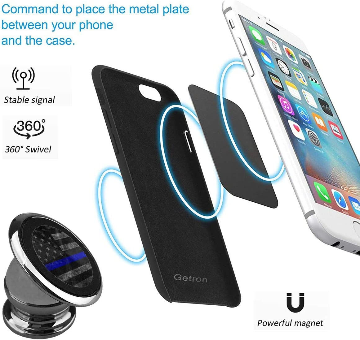 Magnetic Phone Car Mount Silvery Cell Phone Car Kits 360/° Adjustable Magnet Cell Phone Mount Compatible Thin Blue Line Universal Car Phone Holder for Dashboard