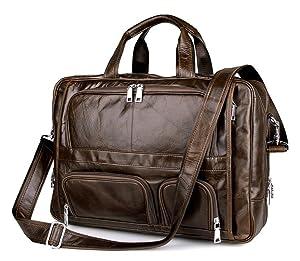 Men's Brown Top-Zip Leather 17 Inch Laptop Handbag Briefcases Messenger Shoulder Laptop Bag(Brown)
