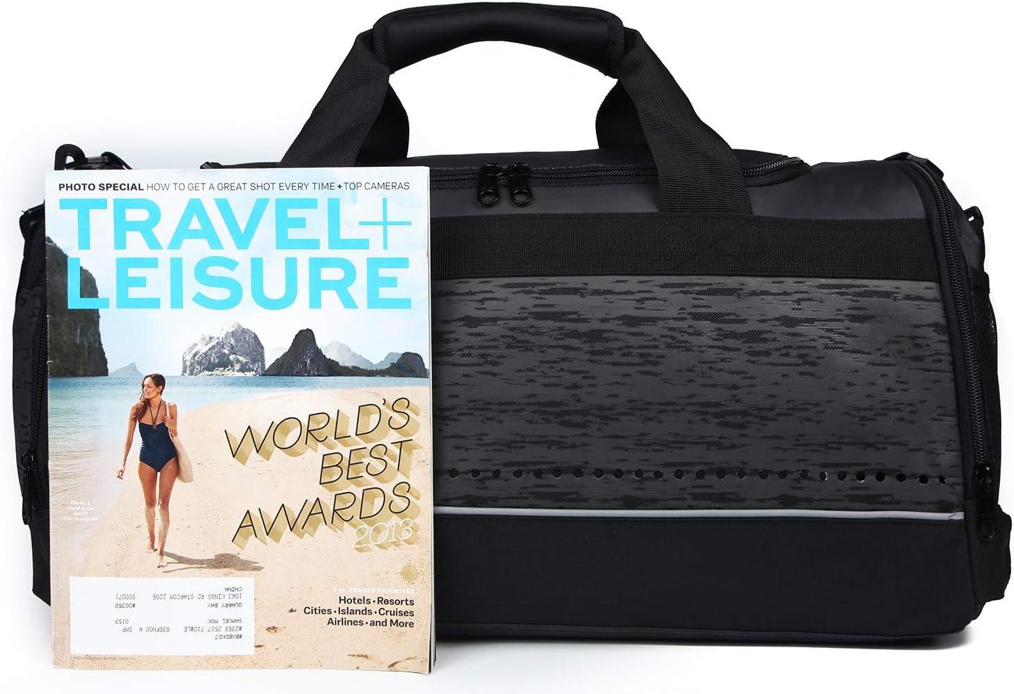 MIER Mens Holdall Gym Bag Black Sport Duffle Bag avec des Chaussures Compartiment pour Weekender Nuit Continuez