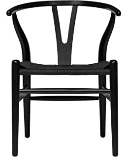 Hans Wegner Wishbone Style Woven Seat Chair (Black With Black Cord)