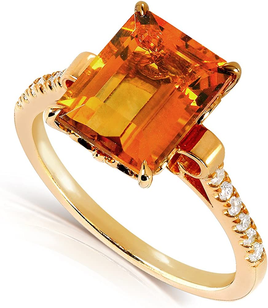 ctw Kobelli Emerald-Cut Orange Citrine and Diamond Ring 2 5//8 Carat in Silver with 14K Gold Plating