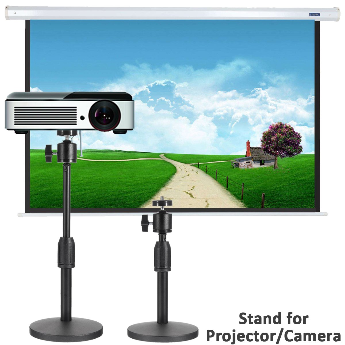 Projector Stand, Caveen Adjustable Projector Stand Lightweight Adjustable Height 10.65'' to 13.35'' Floor Stand with Round Base For Projector, Small Camera, Webcam,Video Cam Bestcombine