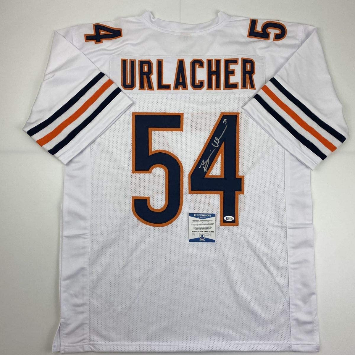 Autographed//Signed Brian Urlacher Chicago White Football Jersey Beckett BAS COA