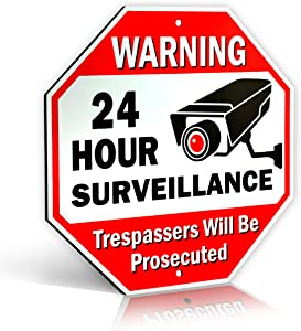 "Large Warning 24 Hour Surveillance No Trespassing Metal Sign | with | for Home Business Video Security CCTV Camera | 12"" L x 12"" H Heavy Duty DiBond Aluminum (12""x12"" Non-Reflective)"