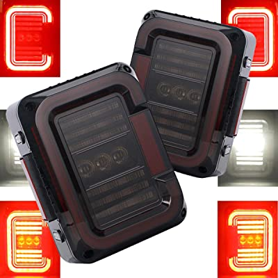 "AUDEXEN LED Tail Lights for Jeep Wrangler JK JKU 2007-2020, Unique""C"" Shaped Design Smoked Lens, 20W Reverse Lights, Built-in EMC, DOT Compliant, 2 PCS: Automotive"