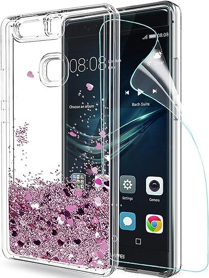 LeYi Funda Huawei P9 Plus Silicona Purpurina Carcasa con HD Protectores de Pantalla,Transparente Cristal Bumper Telefono Gel TPU Fundas Case Cover para Movil Huawei P9 Plus ZX Oro Rosa: Amazon.es: Electrónica