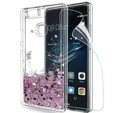 LeYi Funda Huawei P9 Plus Silicona Purpurina Carcasa con HD Protectores de Pantalla,Transparente Cristal Bumper Telefono Gel TPU Fundas Case Cover ...