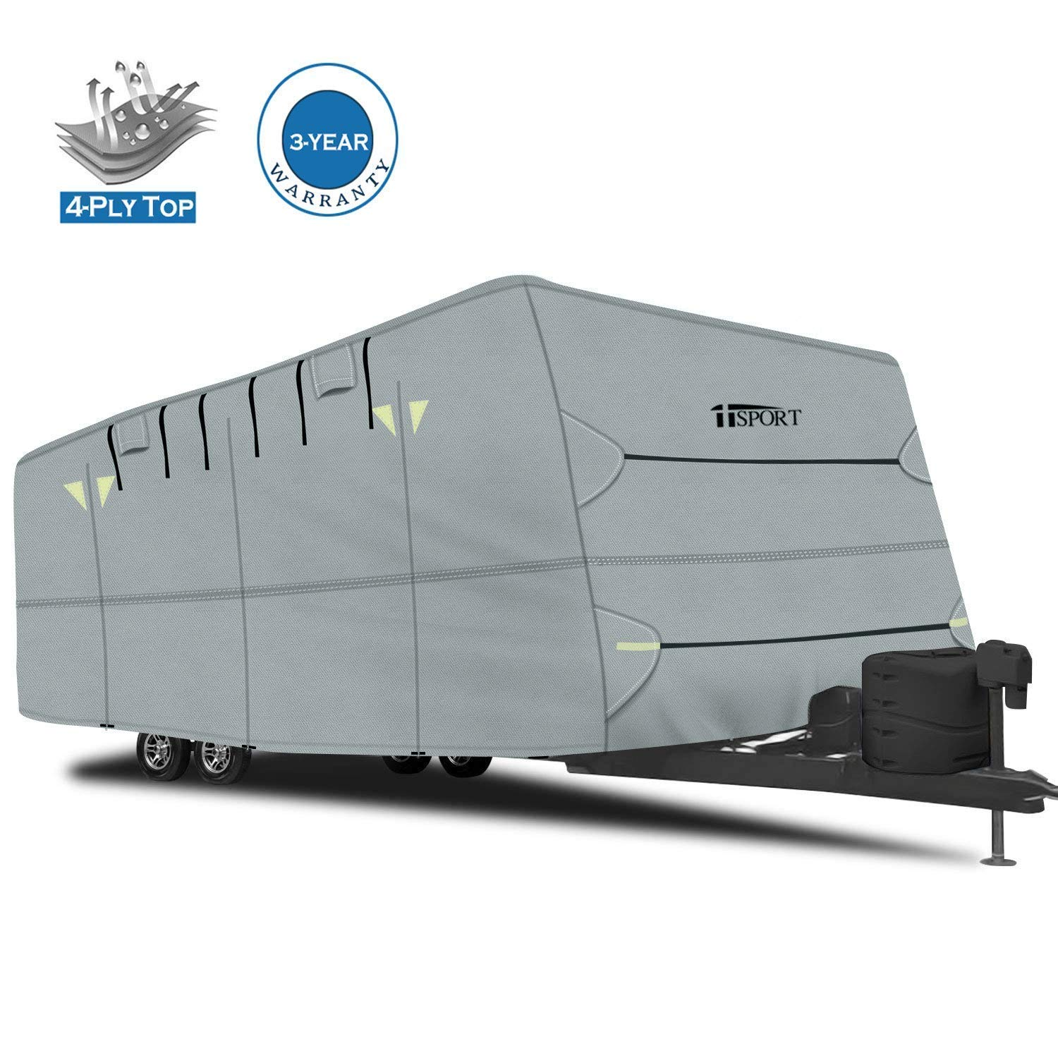 iiSPORT Extra Thick 4-Ply Top Panel Travel Trailer Cover, Fits 27'-30' Long Trailers - Ripstop Waterproof RVs Covers with Storage Bag, Snug-fit Elastic Hem & Windproof Buckles