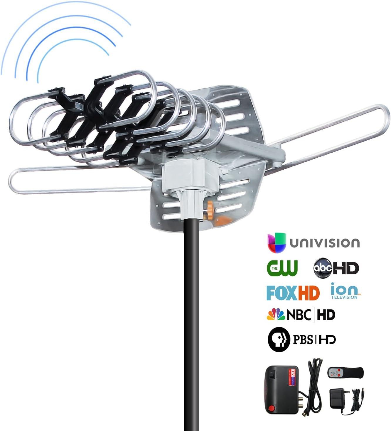 Antena de TV HD de exteriores, Ohayo 150 millas Range HD antena con 360 ° rotación en 33 ft cable extraíble de control de infrarrojos Digital en la ...