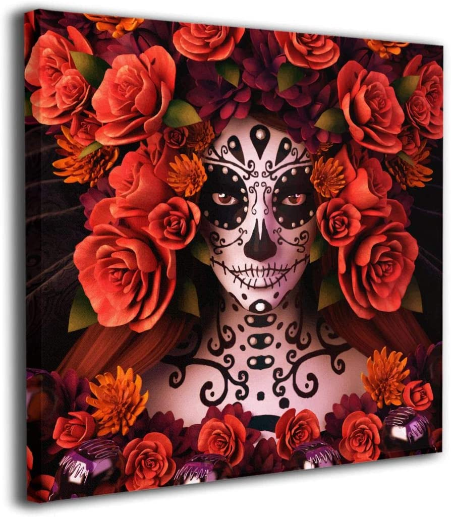 "Sugar Skulls And Roses Day Of Dead Halloween Contemporary Canvas Print Wall Art - For Living Room Decor And Painting Framed Artwork Office Gifts Art Ready To Hang For Home Decoration 20""x20"""