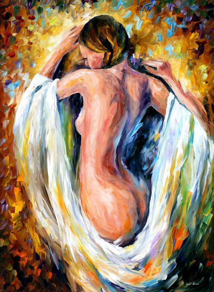 Modest Girl Nude Wall Decor Naked Art Work Oil Painting On Canvas By Leonid Afremov